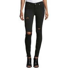 Paige Ultimate Distressed Skinny Jeans ($71) ❤ liked on Polyvore featuring jeans, black over, black denim skinny jeans, destroyed jeans, torn skinny jeans, ripped skinny jeans and black jeans