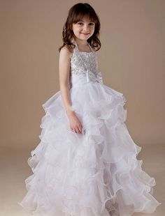 Organza Tiered Halter Beading Wedding Dress for Kids
