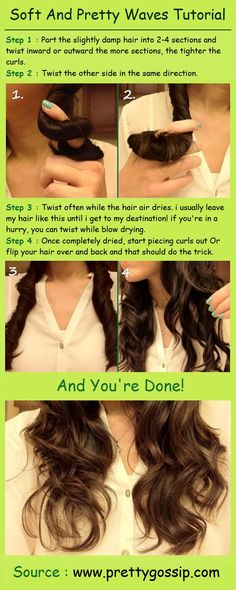 Soft And Pretty Waves Tutorial... think my hair's too thick for this, but maybe I can try more than 4!