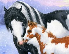 SNOWY DAY PAINT......this paint mare & foal are enjoying the snowflakes on a winter day....PRINTED