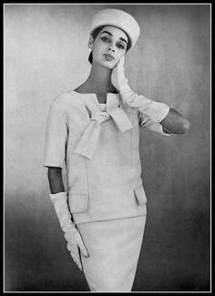 Jacky Mazel in white two-piece by Givenchy, photo by Georges Dambier, 1956