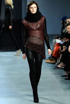 nice see-through plus assymetric cut and leather leggings; could work with tight or bootcut jeans too and boots.