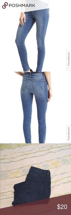 Gap 1969 True Skinny High Rise Super high rise skinny jeans! These are super comfy and have a lot of stretch. I've only worn a handful of times. Been laundered on cold and air dried. Reason for selling is, I have WAY TOO many jeans and need to reduce my closet size! GAP Jeans Skinny