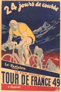 Tour de France 1949 vintage poster  #velo  bicycles