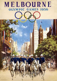 Melbourne Olympic Games 1956 Vintage Travel Poster by James Northfield Vintage Advertising Posters, Vintage Travel Posters, Vintage Advertisements, Melbourne Australia, Australia Travel, Brisbane, 1956 Olympics, Party Vintage, Posters Australia