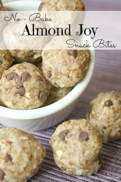 No-Bake Almond Joy Snack Bites from Two Healthy Kitchens - Love Almond Joy candy bars? You've gotta try these quick no-bake Snack Bites! Nuts, flax and oats for sustained energy. Easy, freezable and nutritious!