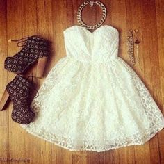 Strapless lace white dress with a flowy skirt Bustier Dress, Dress Skirt, Lace Dress, Dress Up, Dress Shoes, White Bustier, Strapless Dress, Shoes Heels, Cute Dresses
