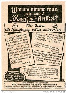 Werbung - Original-Werbung/Inserat/ Anzeige 1912 - REESE BACKPULVER / PUDDINGPULVER ca. 90 x 130 mm