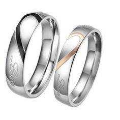 """LeiOh Stainless Steel His and Hers Heart Shaped Promise Rings """"Real Love"""" Couple Wedding Bands"""