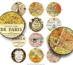 Paris Map 2 inch Circles Digital Collage Sheet - Printable Images.