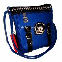 Betty Boop Belt Blue Enamel Strap Rhinestone Cross-body Studs Zipper Poccket L Messenger Sling Bag - Blue Allofpurses - Betty Boop. $25.98. Save 13%!