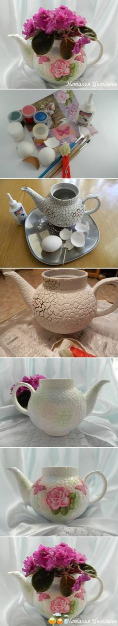 Nice idea for tea-pot makeover.  Use egg-shells instead of crackling medium, then paint and decoupage.