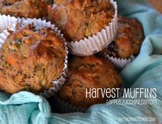 Harvest Muffins {Apple.Zucchini.Carrot}  On busy mornings, a grab and go breakfast is a must. These muffins are my go-to. High in protein, low in fat and full of fruits and vegetables, they should taste, well, like healthy muffins. Meaning sawdust.  But these? They are moist, a little spicy sweet and oh so delicious. You almost forget they're good for you.  Make a batch or two and stock your freezer. They defrost quickly and I bet they'll become your go- to breakf