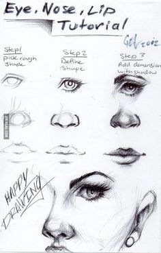 Art drawings · eye, nose and lip tutorial! it's in the shadows drawing practice, drawing lessons Drawing Lessons, Drawing Techniques, Drawing Skills, Drawing Sketches, Art Drawings, Drawing Ideas, Face Drawing Tutorials, Drawing Pics, Sketchbook Drawings