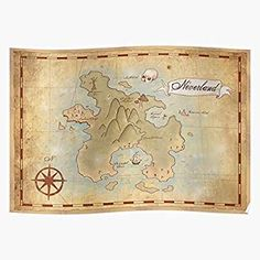 Amazon.com: kineticards Map Pan Treasure Vintage Style of Carroll Neverland Pirate Peter Catrography Lewis | Home Decor Wall Art Print Poster: Posters & Prints