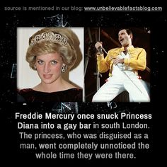Freddie Mercury once snuck Princess Diana into a gay bar in south London. The princess, who was disguised as a man, went completely unnoticed the whole time they were there. Queen Freddie Mercury, Freddie Mercury Quotes, Funny Videos, Funny Memes, Hilarious, Jokes, Queen Songs, Freedy Mercury, Rainha Do Rock
