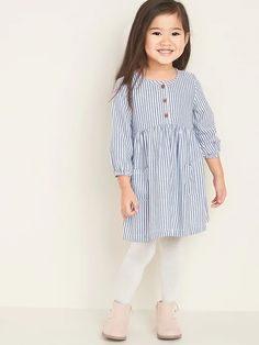 Striped Henley Swing Dress for Toddler Girls | Old Navy