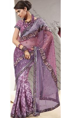G3 Fashions Wine Pink Purple Net Brocade Embroidered Designer Saree.  Product Code : G3-LS7104 Price : INR RS 3720