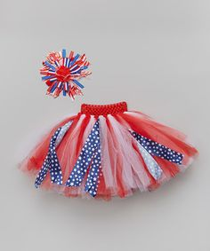 Look what I found on #zulily! Red & Blue Fabric Tutu & Headband Set by Miss Fancy Pants #zulilyfinds