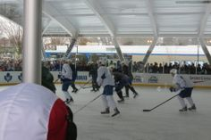 The Toronto Maple Leafs hold a practice at Greenwood Park in Toronto on Feb. 21, 2014.