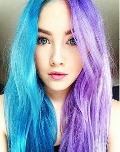 Half blue half purple hair Half And Half Hair Color blue hair Purple Hair Dye Colors, Hair Color Blue, Cool Hair Color, Blue Purple Hair, Split Hair, Split Dyed Hair, Half Dyed Hair, Half And Half Hair, Beautiful Hair Color