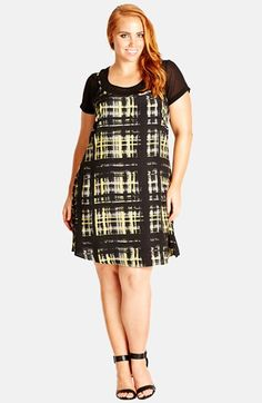City Chic '90s Girl' Chiffon Dress with Tee (Plus Size) available at #Nordstrom