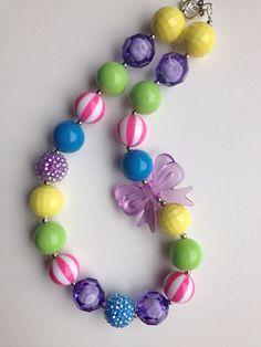 Rainbow chunky necklace.. Chunky bead necklace.. by GirlzNGlitter, $16.50