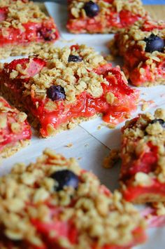 Strawberry Rhubarb Pie Bars by @uprootfromor