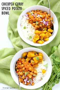 Easy Chickpea Curry and Spiced Potato Bowl - Vegan Richa