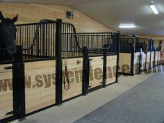 Horse Stalls - Custom Black Tuscany Stalls - System Fencing