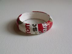 Recycled Warhol-Inspired Bracelet! Wood bangle+soup label+Glossy Mod Podge!