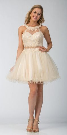 b62e9a61387 Starbox USA 6417 White Mock Two-Piece Homecoming Dress Keyhole Back