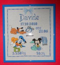 Quadro nascita Disney incorniciato x Davide - della categoria Punto Croce dall'album di Winnie88.