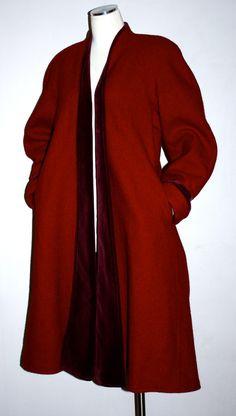 Vintage KENZO PARIS Deep Red Wool Velvet Clutch Swing Coat. $295,00, via Etsy.