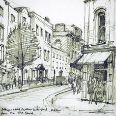 Long weekend in Dublin with my sketchbooks This is the corner of Exchequer Street and William South Street from the historic Old Stand pub. #Drawing #sketchbook #Dublin #Ireland #sketch #urbansketchers #art #painting #graphite #pencil #pencildrawing