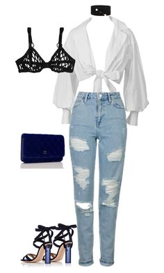 """""""Untitled #19"""" by averymorales on Polyvore featuring Topshop, Gianvito Rossi, Chanel and Dries Van Noten"""