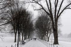 Unas personas caminan cerca al Monumento a Abraham Lincoln durante una tormenta de nieve en Washington D.C (Foto: EFE)