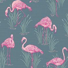 Pink Flamingo - Lagune Grau Tapete - Arthouse - grau, 1005cm x 53cm