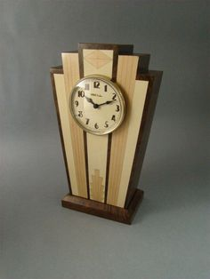Art Deco Mantle clock with wood dial