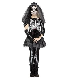 The Child Skeleton Bride costume is a great scary costume for girls. It includes black and white dress with lace-up front and tatter hem, veil, lace gloves, and choker. Also great for a monster's bride costume. Girls Skeleton Costume, Skeleton Halloween Costume, Classic Halloween Costumes, Halloween Costumes For Girls, Scary Kids Costumes, Costumes For Teens, Costume Ideas, Costumes, Party