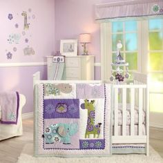 Go retro-chic with zoo animals and whimsical flower and sunburst patterns in plum, violet, blue, and green! Featuring a comforter appliqued with an elephant, giraffe, and hippo; patterned crib sheet; dust ruffle in geometric polka pops; and coordinating diaper stacker.