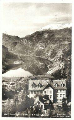 Møre og Romsdal fylke Stranda kommune Geiranger. Parti ved Hotel Utsikten Utg Normann 1924
