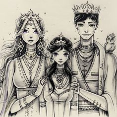 Another old drawing. Royal family (#royal_family_natalico). Now I see how long necks they have XD