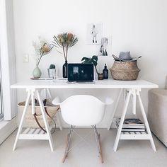 This white-on-white workspace belongs to social media freelancer @cyliaherbertson in Sydney // via @workspacegoals on Instagram