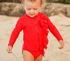 Mint Chip (Red) - Long-Sleeve Rash Guard Swimwear Set with Zipper SPF | SwimZip Rash Guard Swimwear