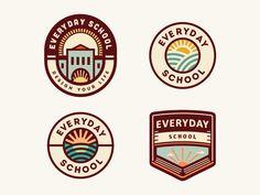 Everyday School [logo concepts - still in progress] - logo design / branding - Education Design Retro, Vintage Logo Design, Logo Restaurant, Crea Design, Logos Vintage, Logo Minimalista, School Badges, Logo Samples, Crest Logo