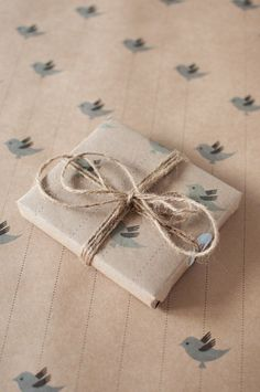 cute kraft parcel stamped & tied up with string