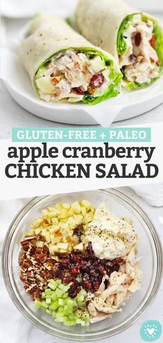 Apple Chicken Salad - This chicken salad with apples is perfect for the start of fall! It's the perfect combination of savory, sweet, creamy, and crunchy. Don't miss all our serving ideas below! (Gluten-Free, Paleo-Friendly) // Apple Chicken Salad // Pecan Chicken Salad // Cranberry Pecan Chicken Salad // Fall Chicken Salad #glutenfree #paleo #chickensalad #mealprep Gluten Free Recipes For Dinner, Dairy Free Recipes, Paleo Recipes, Whole Food Recipes, Eating Gluten Free, Gluten Free Dinners Easy, Gluten Free Lunches, Healthy Gluten Free Snacks, Easy Family Recipes