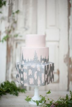 A three-tiered wedding cake with silver ikat design, from Sweet and Saucy Shop.