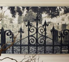 wall mural  http://www.exoticexcess.com/art/halloween-decor-haunted-gate-wall-mural/